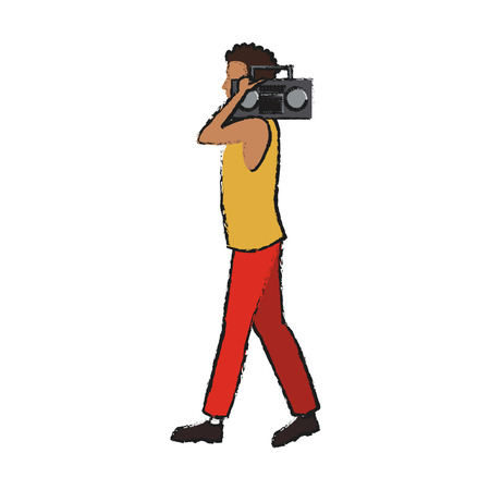 man with a boombox over white background. colorful design. vector illustration