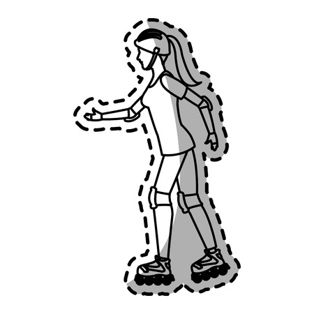hair roller: woman on the roller skates cartoon icon over white background. vector illustration