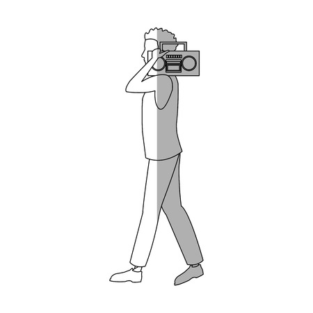 boombox: man with a boombox cartoon icon over white background. vector illustration