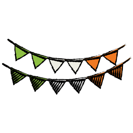 cartoon festive bunting st patrick day vector Illustration
