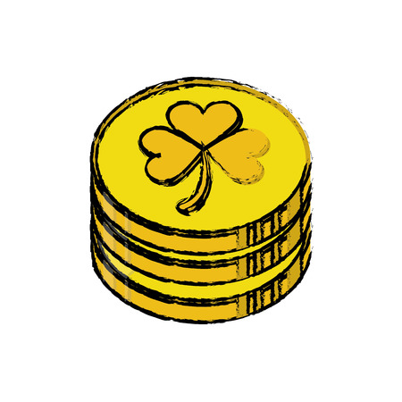 cartoon st patrick day pile coins golden sign vector