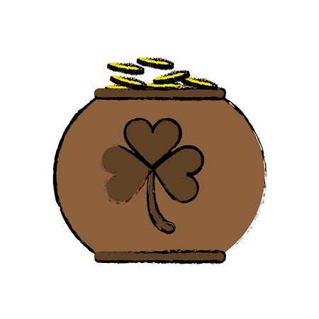 cartoon pot full coins shamrock decoration celebration st patrick day vector illustration