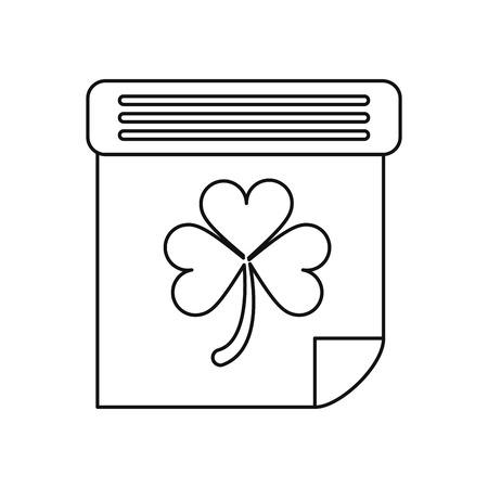 irish culture: calendar clover st patrick day irish culture outline vector illustration