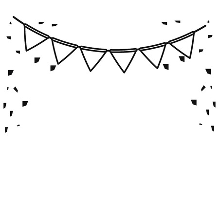 festive bunting confetti st patrick day outline vector illustration