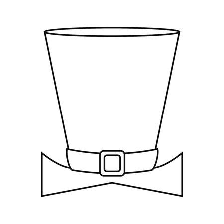 simplified: top hat saint patrick day symbol outline vector illustration eps 10