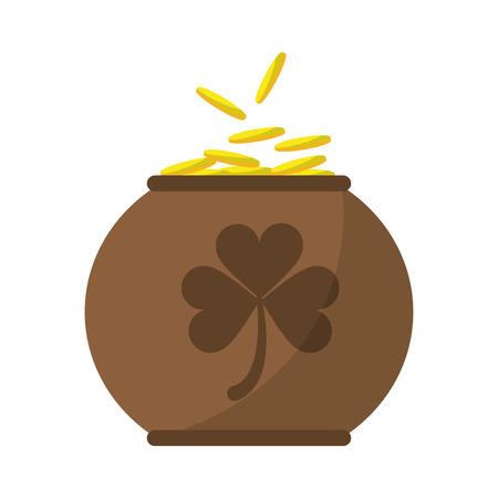 season s greeting: brown pot full coins shamrock decoration celebration st patrick day vector illustration Illustration