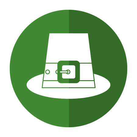 green saint patrick day top hat with buckle shadow vector illustration Illustration