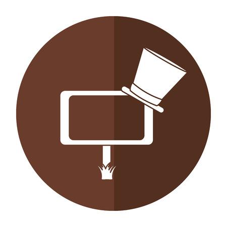 leprachaun: wooden sign st patrick day hat shadow vector illustration