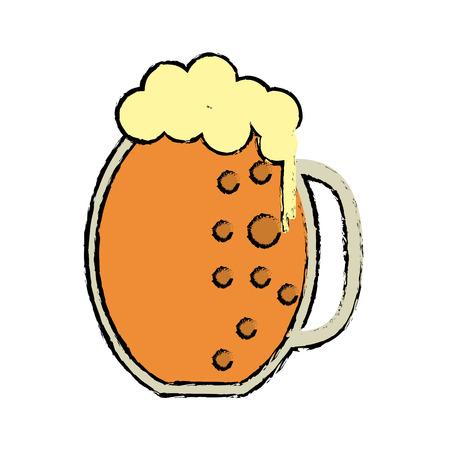 patrik: cartoon st patrick day jar beer foam cold vector illustration