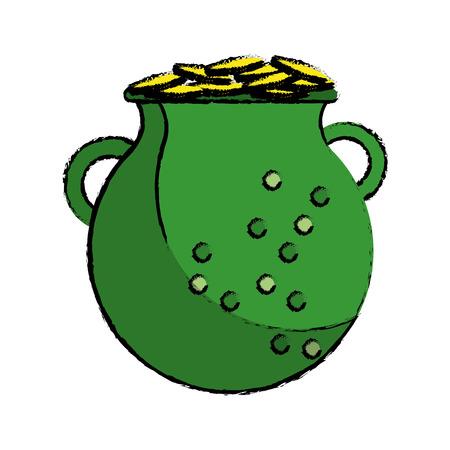 cartoon st patrick day green pot golden coins vector illustration