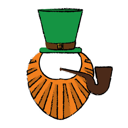 cartoon st patrick day leprechaun beard hat and tobacco pipe vector illustration Illustration