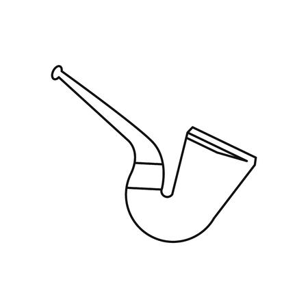 leprachaun: st patrick day tobacco pipe leprachaun outline vector illustration