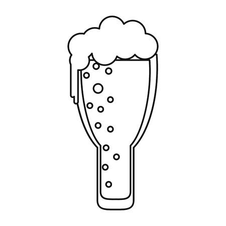 seamless clover: saint patrick day frosty glass beer celebration outline vector illustration