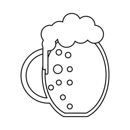 fourleafed: st patrick day jar beer foam cold outline vector illustration