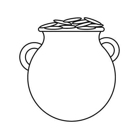 st patrick day pot coins outline vector illustration