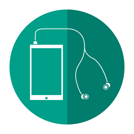 smartphone earphones application modern shadow vector illustration