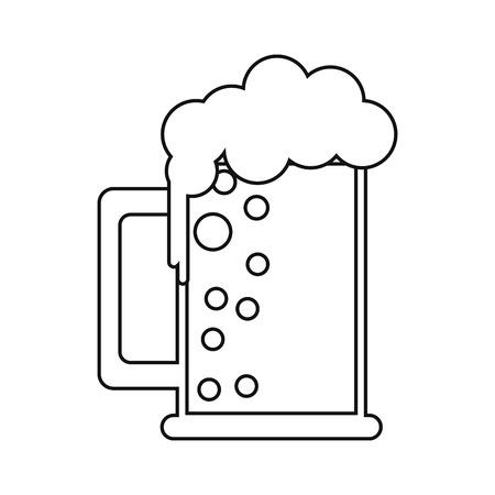 beer foam: saint patrick day mug of beer foam bubbles cold outline vector illustration