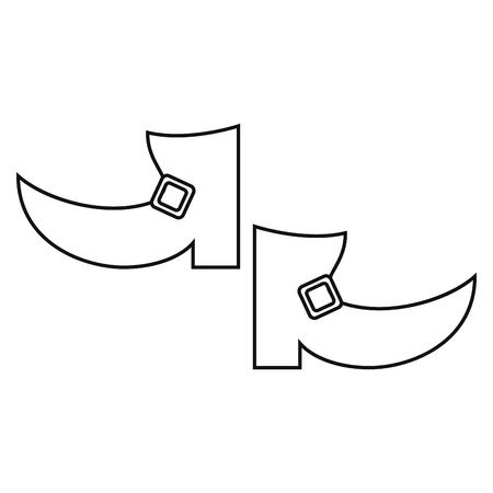 leprachaun: boot leprachaun st patrick day outline vector illustration