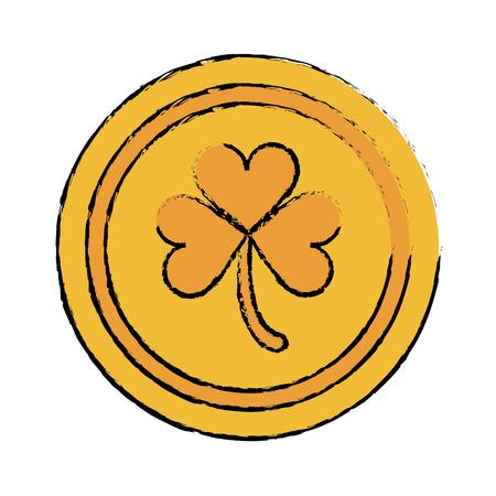 cartoon saint patrick day gold coin shamrock icon vector illustration Illustration