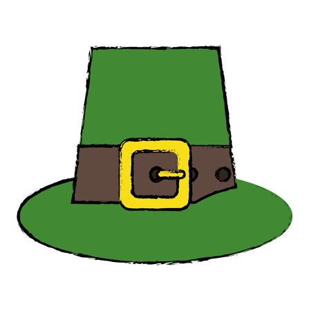 cartoon green saint patrick day top hat with buckle vector illustration Illustration