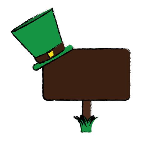 leprachaun: cartoon wooden sign st patrick day hat vector illustration Illustration