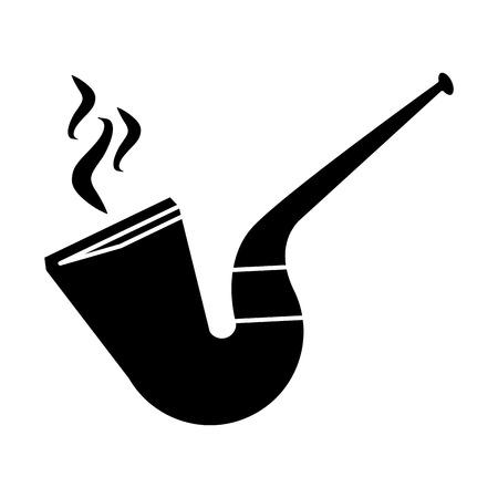 leprachaun: silhouette st patrick day tobacco pipe leprachaun smoke vector illustration Illustration