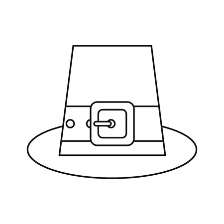saint patrick day top hat with buckle outline vector illustration Illustration