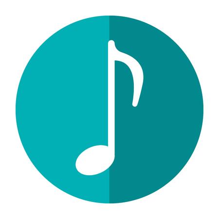 minim: music note sound melody symbol shadow vector illustration