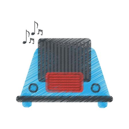 fm: drawing radio music communication device vector illustration