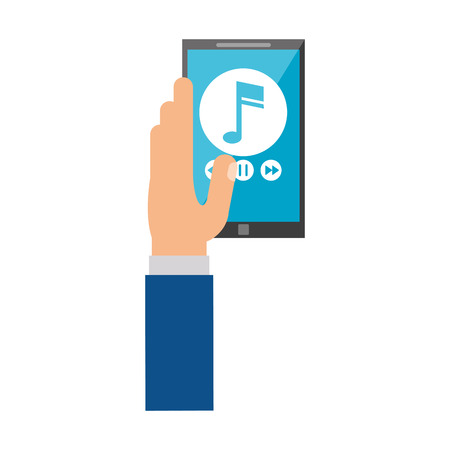 smartphone hand: hand hold smartphone play music vector illustration