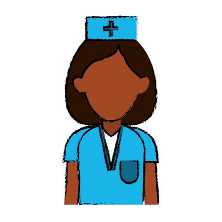 professional nurse hat uniform medical vector illustration Illustration
