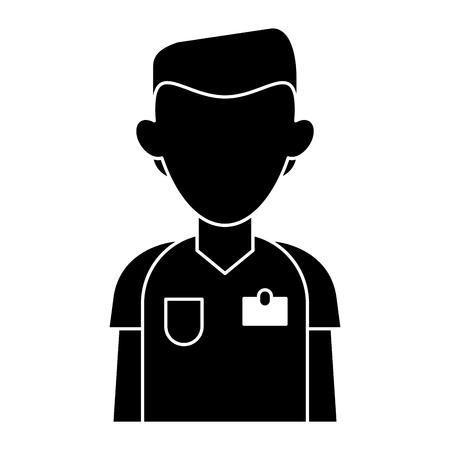 silhouette nurse male suit surgeon hospital vector illustration Vector Illustration