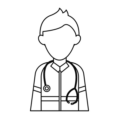 paramedic: paramedic character uniform stethoscope kit first aid emergency outline vector illustration