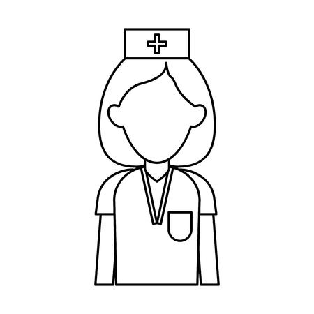 professional nurse hat uniform medical outline vector illustration