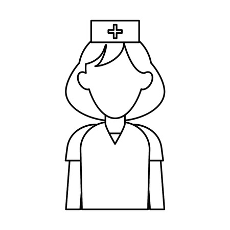 medico: nurse uniform hat cross attention healthcare outline vector illustration eps 10