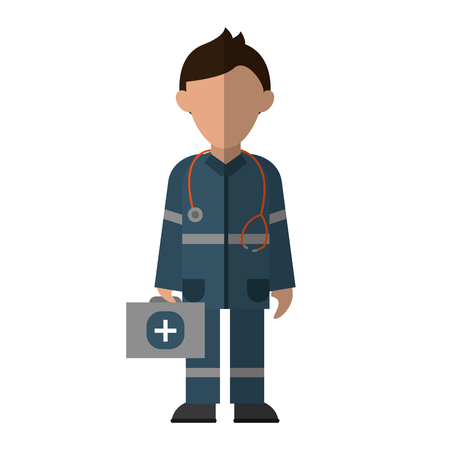 paramedic character uniform stethoscope kit first aid emergency vector illustration eps 10 Illustration