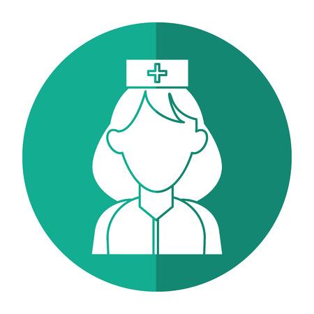 woman shadow: woman paramedic help urgency wearing uniform with shadow vector illustration
