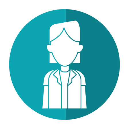 woman shadow: woman doctor occupational medical work with shadow vector illustration