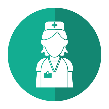 nursing uniforms: nurse staff care clinic uniform hat cross with shadow vector illustration