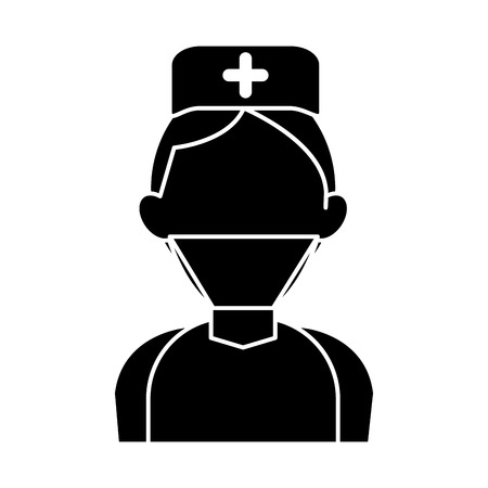 silhouette surgeon doctor wearing clothes medical uniform vector illustration Illustration