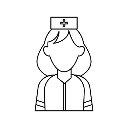 paramedic: woman paramedic help urgency wearing uniform stethoscope outline vector illustration