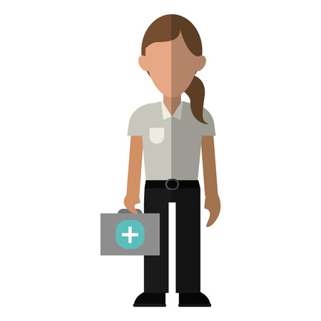 paramedic: woman paramedic worker hospital emergency vector illustration Illustration