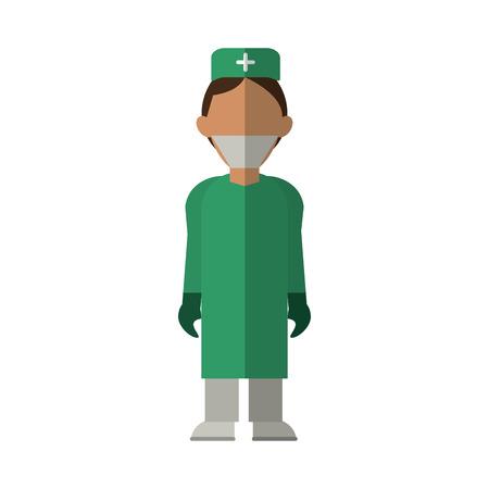 surgeon doctor wearing clothes medical uniform vector illustration