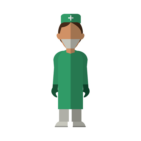 surgeons hat: surgeon doctor wearing clothes medical uniform vector illustration