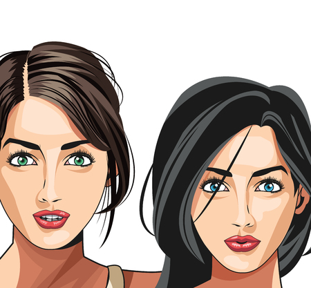 hauberk: two gils beauty fashion model vector illustration eps 10 Illustration