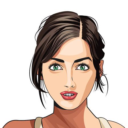 아름다움 여자 얼굴 립스틱 머리 묶여 벡터 일러스트 레이션