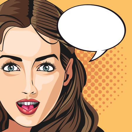 vogue style: pop art woman vogue style bubble speech dotted background vector illustration