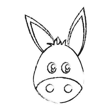donkey animal cartoon icon over white background. vector illustration