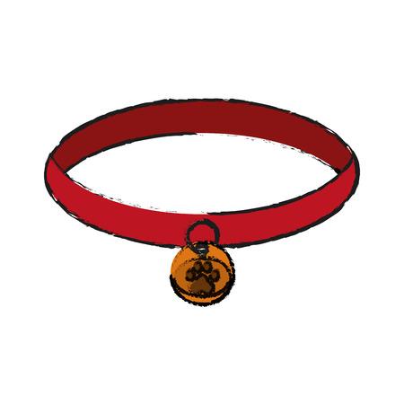 dog collar icon over white background. colorful design. vector illustration