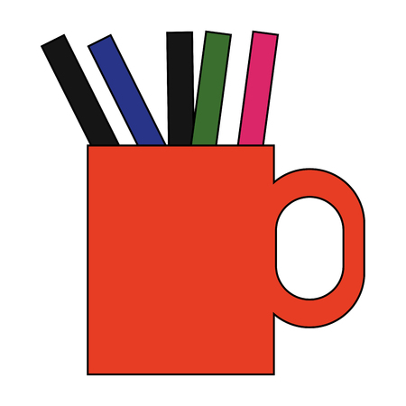 secretarial: cup with pens and pencils over white background. colorful design. vector illustration